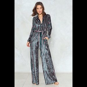 Nasty Gal Jump To It Striped Jumpsuit 4 NWOT